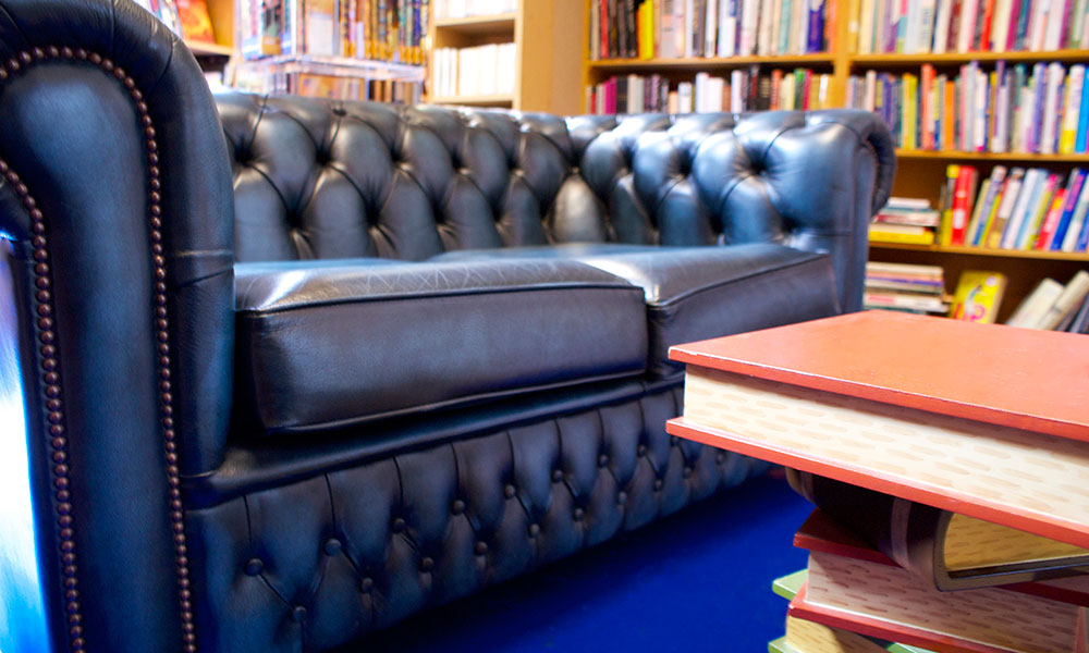 Astley Book Farm's comfy leather sofa